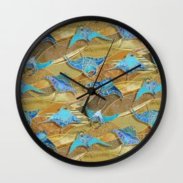 Patchwork Manta Rays in Turquoise and Golden Sand Wall Clock