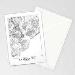 Charleston White Map Stationery Cards