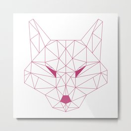 Minimalist Geometric Fuchsia Rose Line Art Scandinavian Style Fox Drawing Metal Print