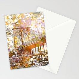 Brooklyn Bridge New York Mixed Media Art Stationery Cards
