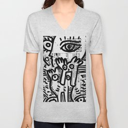Creatures Graffiti Black and White on French Train Ticket Unisex V-Neck