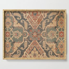 Geometric Leaves II // 18th Century Distressed Red Blue Green Colorful Ornate Accent Rug Pattern Serving Tray