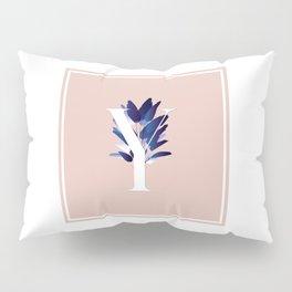 Blue China Palms Letter Y Pillow Sham