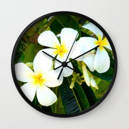 Fresh, Tropical Plumeria Flowers in the Hawaiian Islands Wall Clock