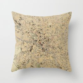 Vintage Map of Bucharest Romania (1911) Throw Pillow