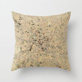 Vintage Map of Bucharest Romania (1911) Throw Pillow