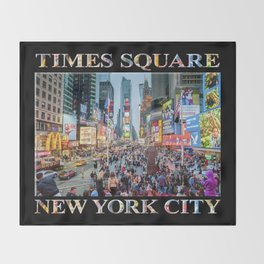 Times Square Tourists (on black) Throw Blanket