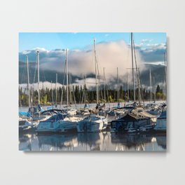 Sailboat Harbor // Lake Dillon Colorado Docked Sailboats Foggy Clouds Metal Print