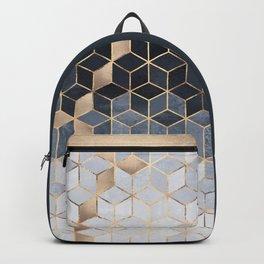 Soft Blue Gradient Cubes Backpack