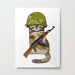 Infantry Fighter Cat Metal Print