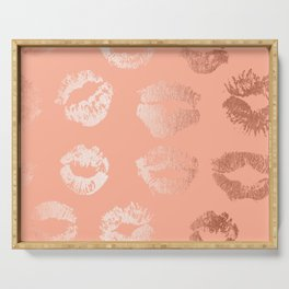 Sweet Life Lips Peach Coral Pink Shimmer Serving Tray