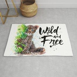 Little leopard watercolor wild & free Kostart Rug