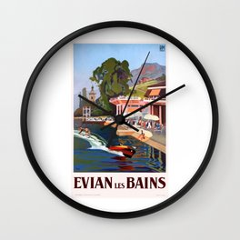 1937 France Evian-Les-Bains Travel Poster Wall Clock