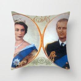 Queen Elizabeth 11 & Prince Philip in 1952 Throw Pillow