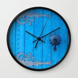 Blue Weathered Door and Ironwork Wall Clock