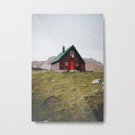 Cozy Cabin Mountains Photograph Vintage Metal Print