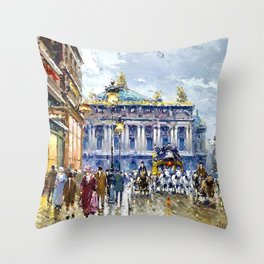 Avenue de l'Opera, Paris, France Landscape by Antone Blanchard Throw Pillow