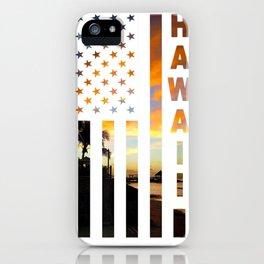 Hawaii Sunset American Flag Honolulu Hawaiian Island T-Shirt iPhone Case