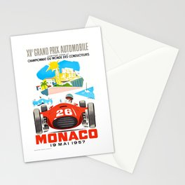 1957 MONACO Grand Prix Race Poster Stationery Cards