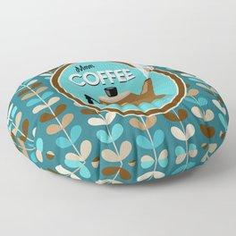 Mid Century Modern Coffee Kettle Kitchen Wall Decor // Caribbean Blue, Turquoise, Brown, Khaki, Tan Floor Pillow