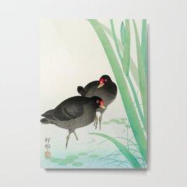 Two birds in the swamp  - Vintage Japanese Woodblock Print Art Metal Print