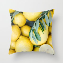 Lemons & Olive branches | Italian lifestyle | Travel photography food wall art print Throw Pillow