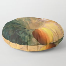 A glass of wine with an apple on a colourful painted background Floor Pillow