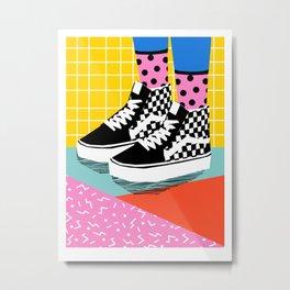 Steezy - retro shoes art print, memphis art print, skater, skateboarding, sneakers, old skool Metal Print