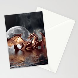 Mystical Dragon and Moon Fantasy Design Stationery Cards