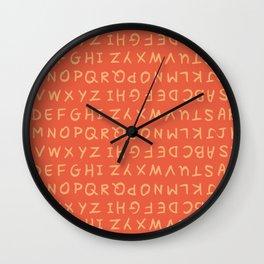 ABC in Coral & Peach Wall Clock