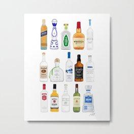Tequila, Whiskey, Vodka Bottles Illustration Metal Print