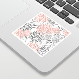 Festive, Floral Prints, Leaves and Blooms, Coral and Gray Sticker