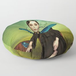 Butterfly Portrait in the meadow Floor Pillow