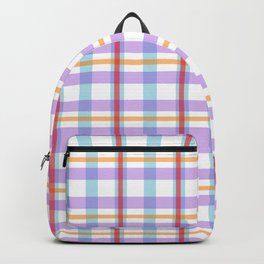 Gridlines of purple, blue and red on white Backpack