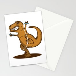 T Rex Rope Funny Dinosaur Fan Gift Stationery Cards
