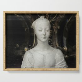 White Lady Marble Sculture Statue Serving Tray