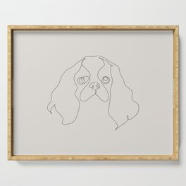 One Line Cavalier king charles spaniel Serving Tray