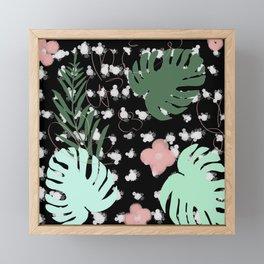 Vegetal flowers palm leaves Fleurs feuilles de palmier Framed Mini Art Print