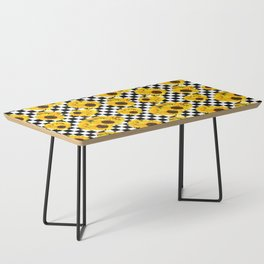 Yellow Sunflower Floral with Black and White Checkered Summer Print Coffee Table