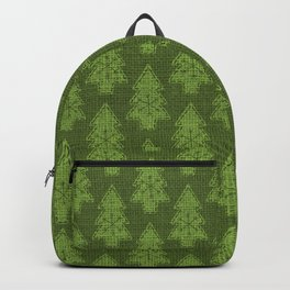 Green Evergreen Christmas Trees on Green Burlap Cloth Backpack