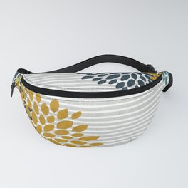Floral Blooms and Stripes, Navy Blue, Teal, Yellow, Gray Fanny Pack
