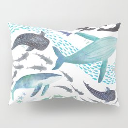 Sharks, Humpback Whales, Orcas & Turtles Ocean Play Print Pillow Sham