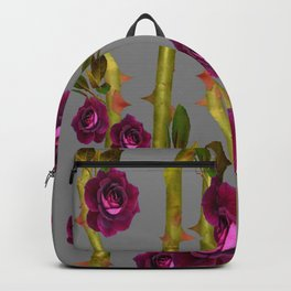 WINE ROSES & CANES GREY ABSTRACT   Backpack