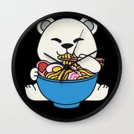 Ramen Soup Ice Bear Polar bear Cute Kawaii Pun Wall Clock