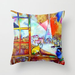 'Paris Through the Window - Eiffel Tower, Seine, & Left Bank' landscape painting by Marc Chagall Throw Pillow