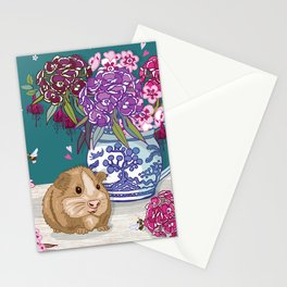 Guinea Pig with Blue Willow Jug of Sweet Williams Stationery Cards