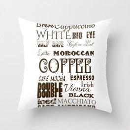 Types of Coffee Throw Pillow