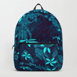 Polynesian Teal Tribal Leaf And Floral Printed Backpack