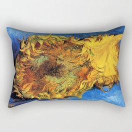 Two Cut Sunflowers - Auvers-sur-Oise - Two sunflowers gone to seed by Vincent van Gogh Rectangular Pillow