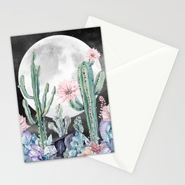 Desert Cactus Full Moon Succulent Garden Night Sky Stationery Cards